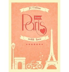 Love Paris vintage retro poster vector image