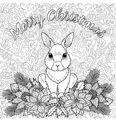 merry christmas coloring page with rabbit vector image vector image