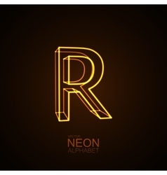 Neon 3D letter R vector image vector image