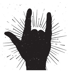 Rock hand sign grung silhouette vector image vector image