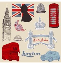 Set of London doodles vector image vector image