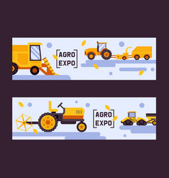 Agro exposition set banners vector