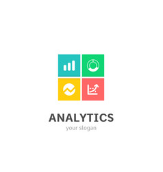 Analytics icons flat style logo design with chart vector