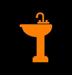bathroom sink sign orange icon on black vector image