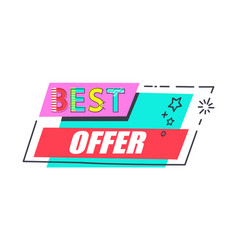 best offer promo label rectangle decorated by star vector image