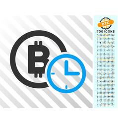 bitcoin credit time flat icon with bonus vector image