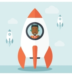 Black guy in On- line business start up vector image