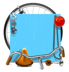 Blue wooden board with bicycle spares vector