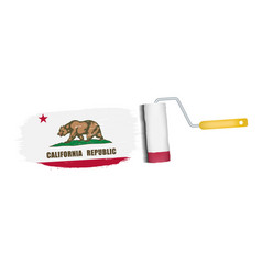 brush stroke with california national flag vector image