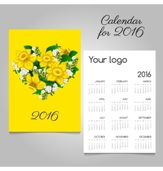 Calendar with bouquet flowers in heart shape vector