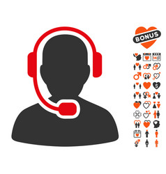 Call center operator icon with lovely bonus vector