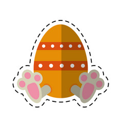 cartoon easter egg with bunny paw vector image