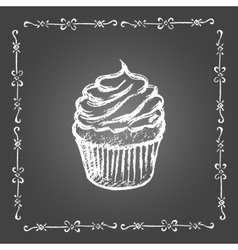 Chalk cupcake and vintage frame vector