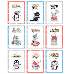 christmas cartoon cards with animals penguin cat vector image