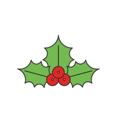 Christmas Holly flat line icon vector image