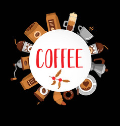Coffee flat collection drink decorative icons vector