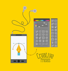 Colorful background smartphone with headphones and vector