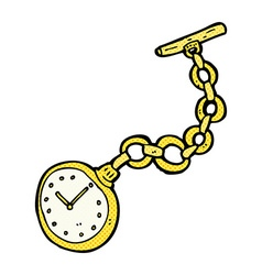Comic cartoon old pocket watch vector