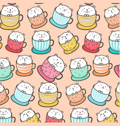 cute bear in the cup pattern background vector image