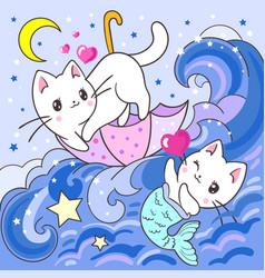 cute white kitten and mermaid kitten vector image