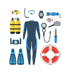 Diving Equipment Set vector image