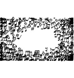 doodle music notes pattern background abstract vector image