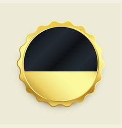 Empty golden badge label premium button vector
