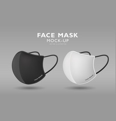 face mask fabric black and white color mock up vector image