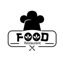 food restaurant logo chef hat background im vector image