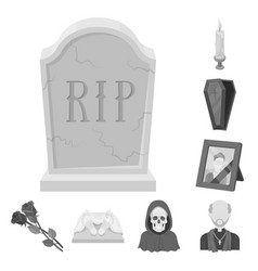 funeral ceremony monochrome icons in set vector image