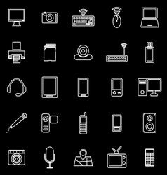 Gadget line icons on black background vector