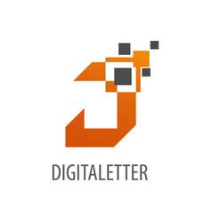 geometric digital pixel initial letter j logo vector image