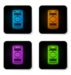 glowing neon mobile phone and eye scan icon vector image