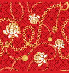gold chains red net pattern with bold flowers vector image