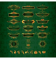 golden ornate decor elements vector image