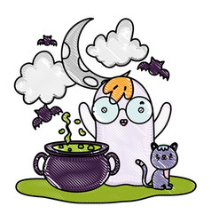 Grated ghost wearing glasses and pot cauldron with vector