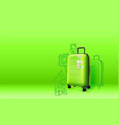 green plastic suitcase on green background vector image