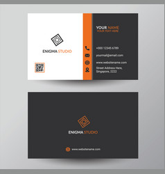 Grey and orange corporate business card design vector