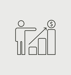 growing business runing man graph icon vector image