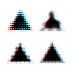 Halftone triangle design elements vector image