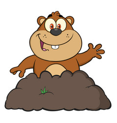 Happy marmot cartoon character waving vector