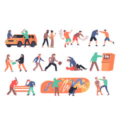 Hooliganism flat set vector