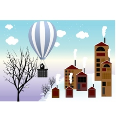 Hot air balloon flying over the sea in the winter vector