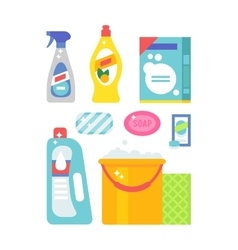 House cleaning hygiene and products flat vector