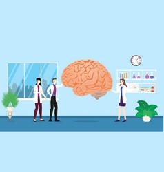 Human brain health care checkup analysis vector