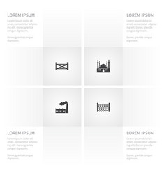 icon architecture set of gate industry defense vector image