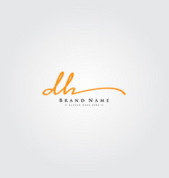 Initial letter dh logo - hand drawn signature logo vector