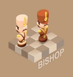 Isometric cartoon chess pieces bishop flat vector