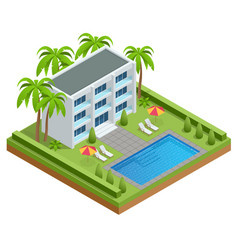 Isometric luxury swimming pool near a modern hotel vector