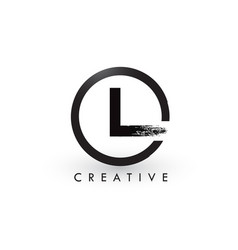 L brush letter logo design creative brushed vector